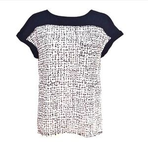 Calvin Klein White black dot print cap sleeve top